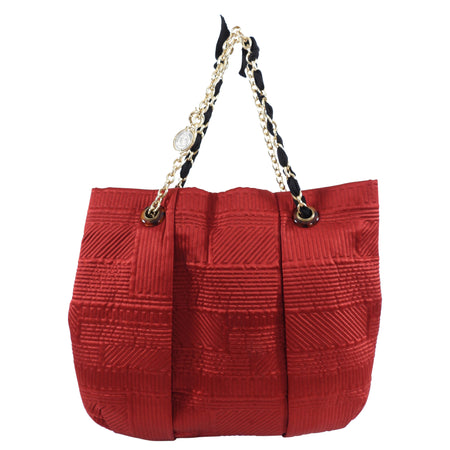 Lanvin Red Satin Quilted Chain Strap Tote Bag
