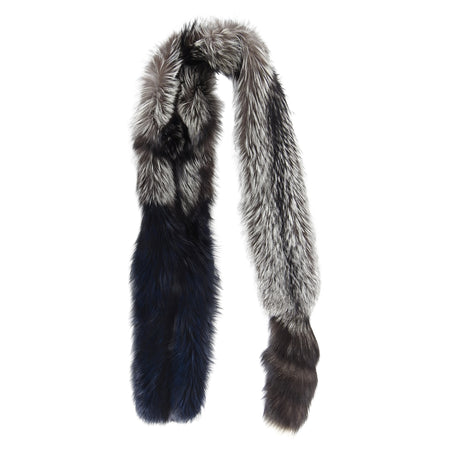 Lanvin Fall 2010 Silver Fox and Navy Fur Extra Long Stole Scarf