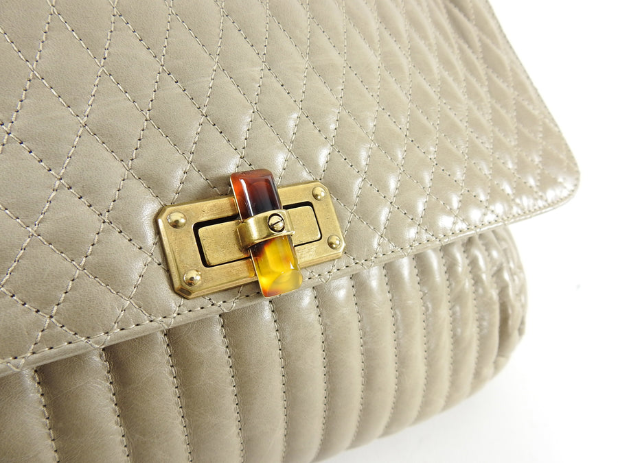 Lanvin Light Taupe Medium Quilted Happy Bag