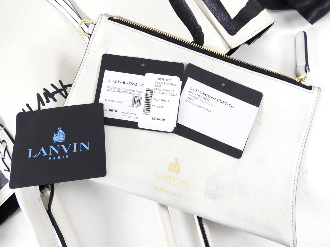 Lanvin Black and White Graphic Shopper Tote Bag