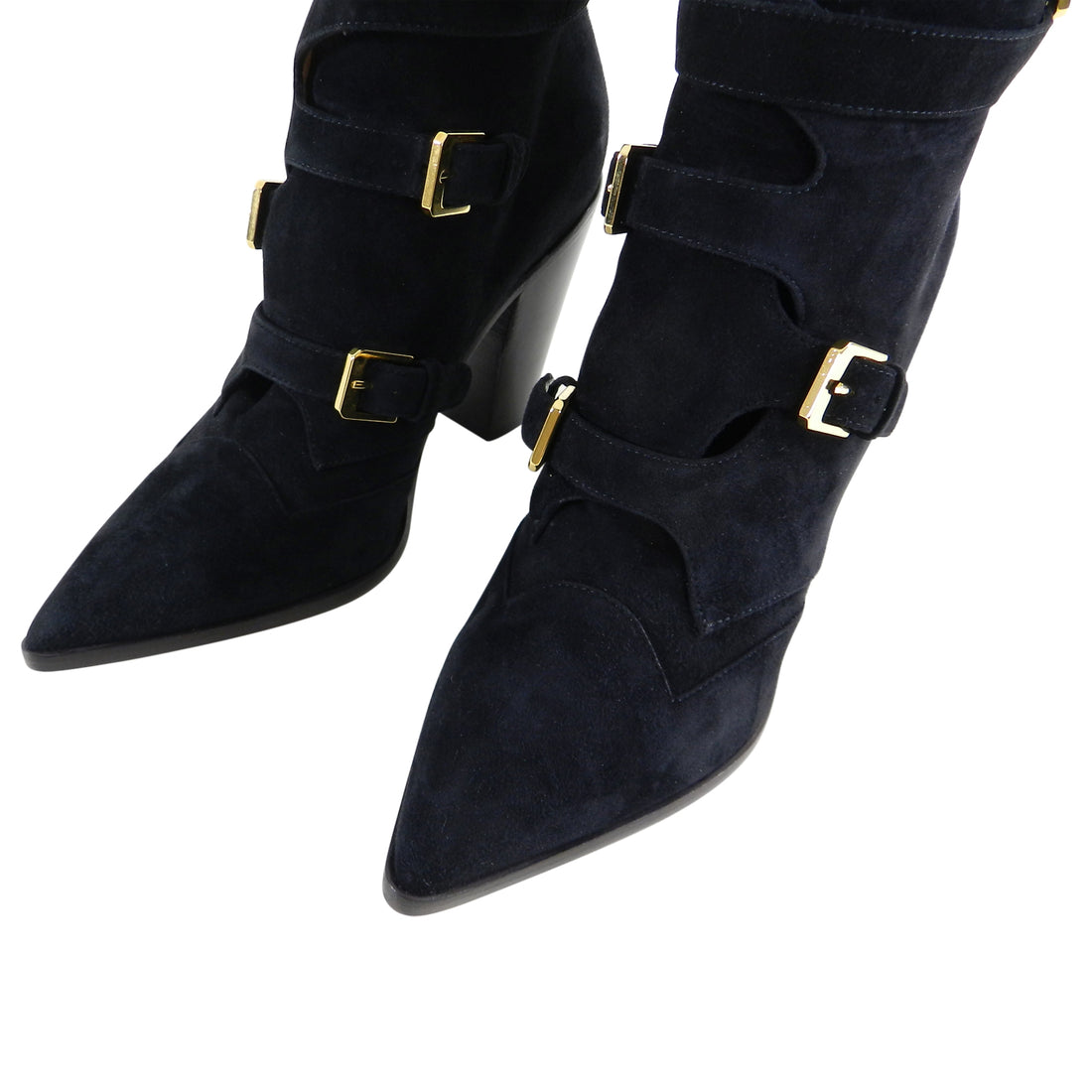 Laurence Dacade Black Suede and Gold Buckle Gregoria Ankle Boots - 37