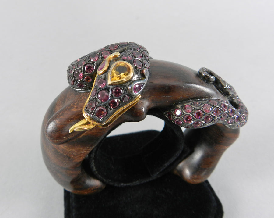 Lotus Arts de Vivre Gold, Pink Sapphire and Ebony Snake Cuff Bracelet