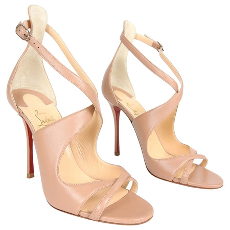 Christian Louboutin Beige Leather Twist 110 mm Sandals - 40 / 9.5