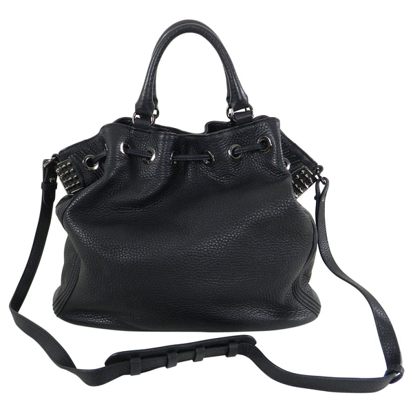 Christian Louboutin Black Leather Drawstring Studded Bag
