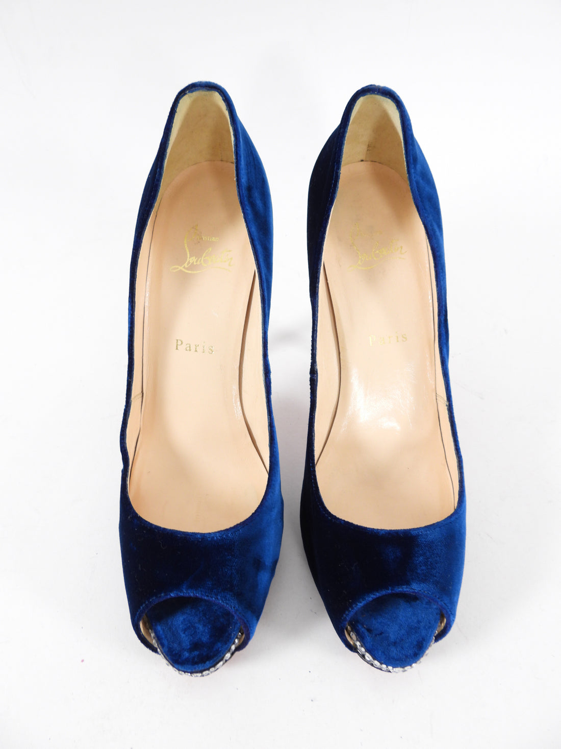 Christian Louboutin Blue Velvet Very Prive Crystal Pumps - 40 / 9.5