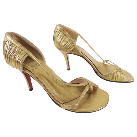 Christian Louboutin Bronze Leather Pleated Thong Pump - 36 / USA 6