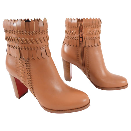 Christian Louboutin Tan Brown Fringe Leather Ankle Boots - 36 / 5.5