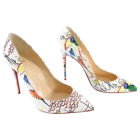 Christian Louboutin Loubitag Scribble So Kate White Pumps Heels - 40