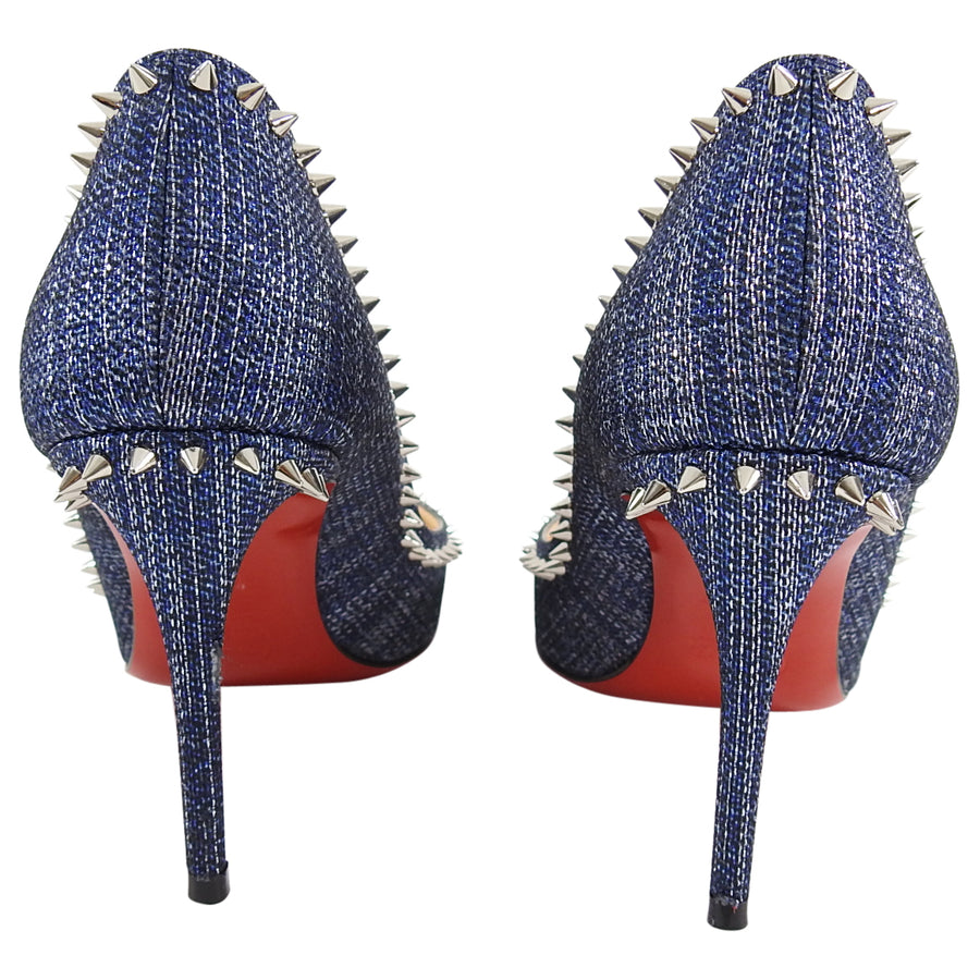 Christian Louboutin Anjalina 85 Denim Lux Studded Pumps - 35
