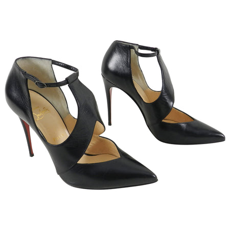 Christian Louboutin Black Leather Dictata 100 Pumps / Heels - 40