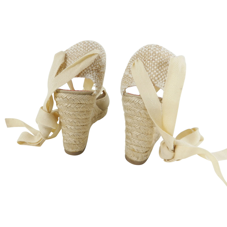Christian Louboutin Canvas Espadrille Wedge Shoes – 37