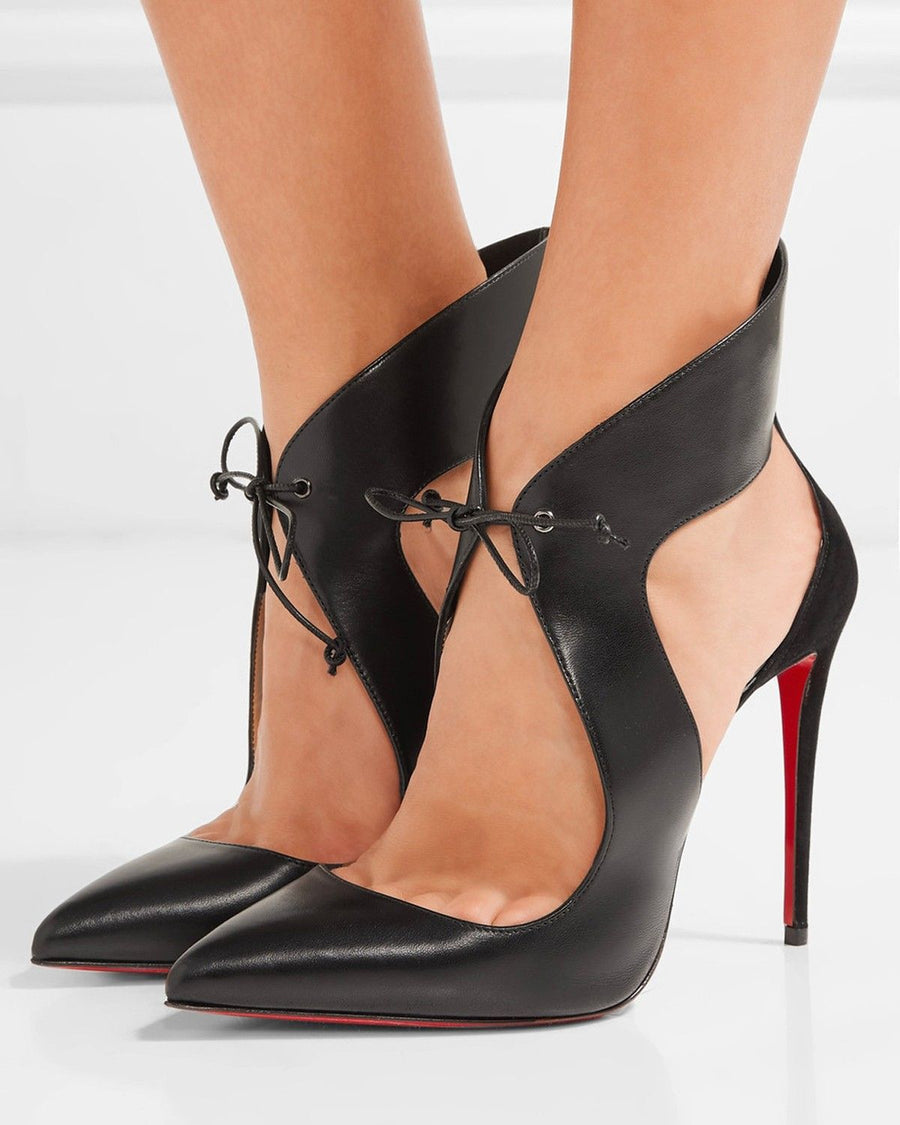 Christian Louboutin Black Ferme Rouge 115 High Heel Lace Front Shoes - 40
