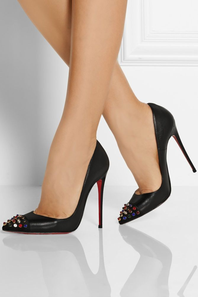 20228e40c5bd ... Christian Louboutin Cabo 120 Pump with Jewel Embellished Toe - 38 ...