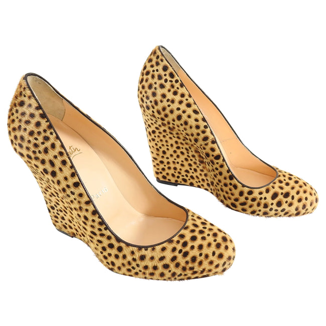 Christian Louboutin Leopard Pony Wedge Pumps - 38