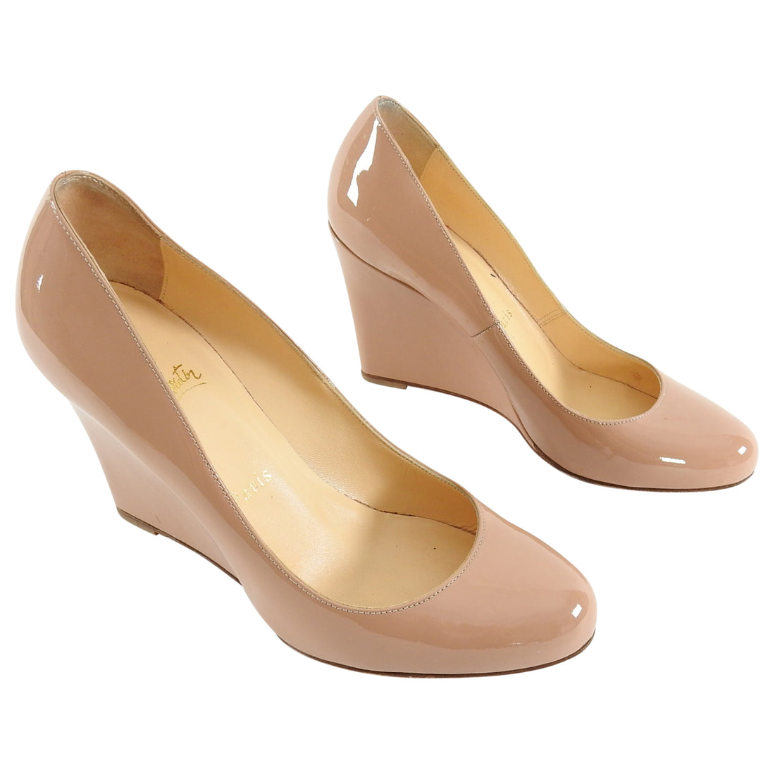 Christian Louboutin Nude Patent Ron Ron Zeppa Wedge Pumps