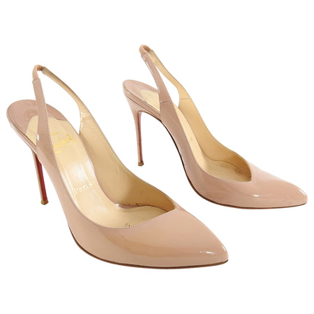 Christian Louboutin Nude Patent Corneille Sling Back 100 Heels - 37