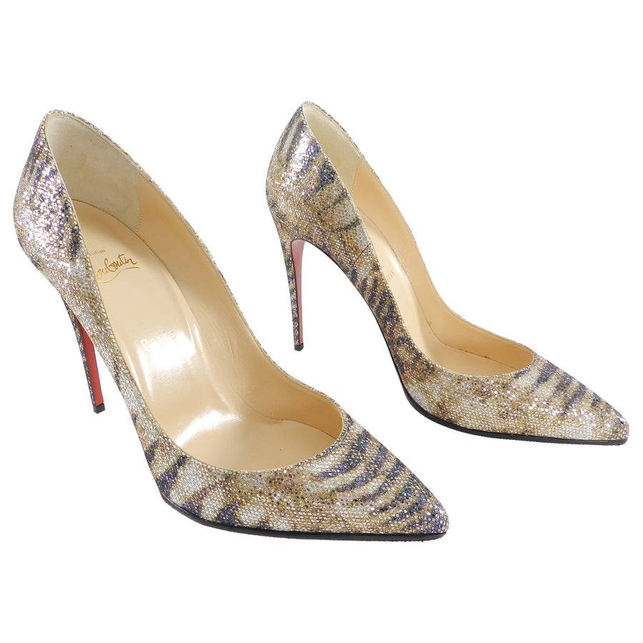 best service 85a2b 9a0aa Christian Louboutin Gold Glitter Sirene Pigalle Follies 120mm - 41