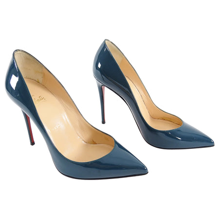 Christian Louboutin Pigalle Follies 100 Teal Patent Pumps - 36