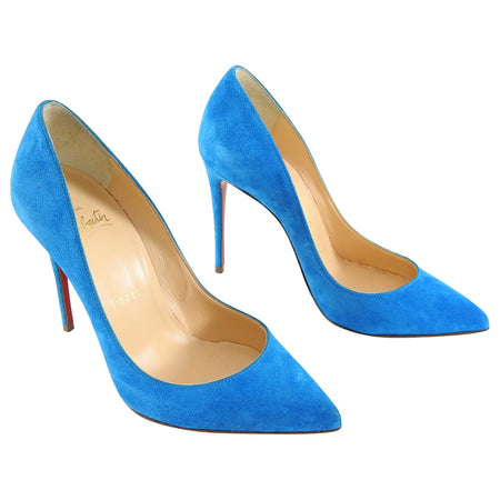 Louboutin Pigalle Follies 100 Blue Suede Pumps - 35