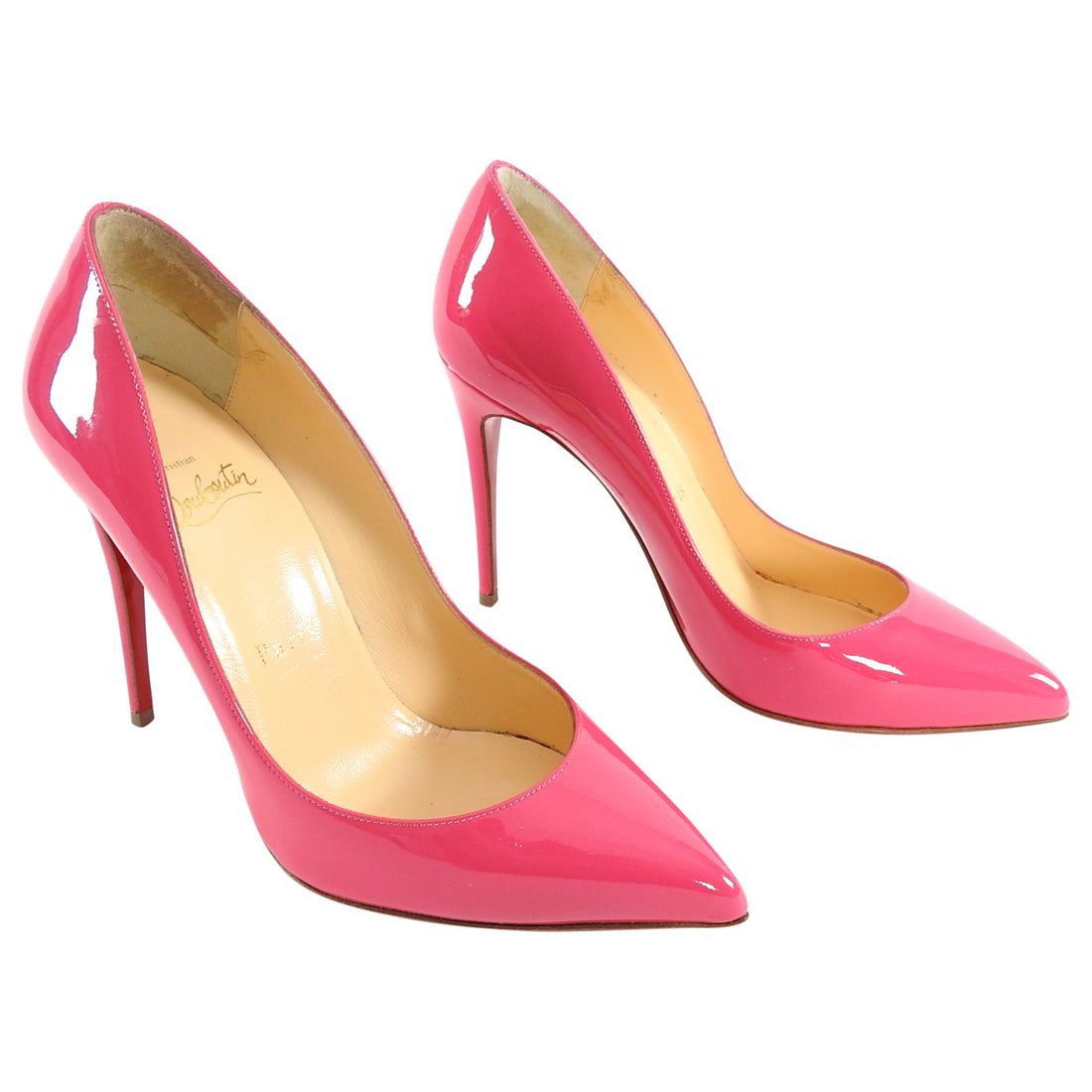 Christian Louboutin Pinky Patent Pigalle Follies 100 Pumps - 36