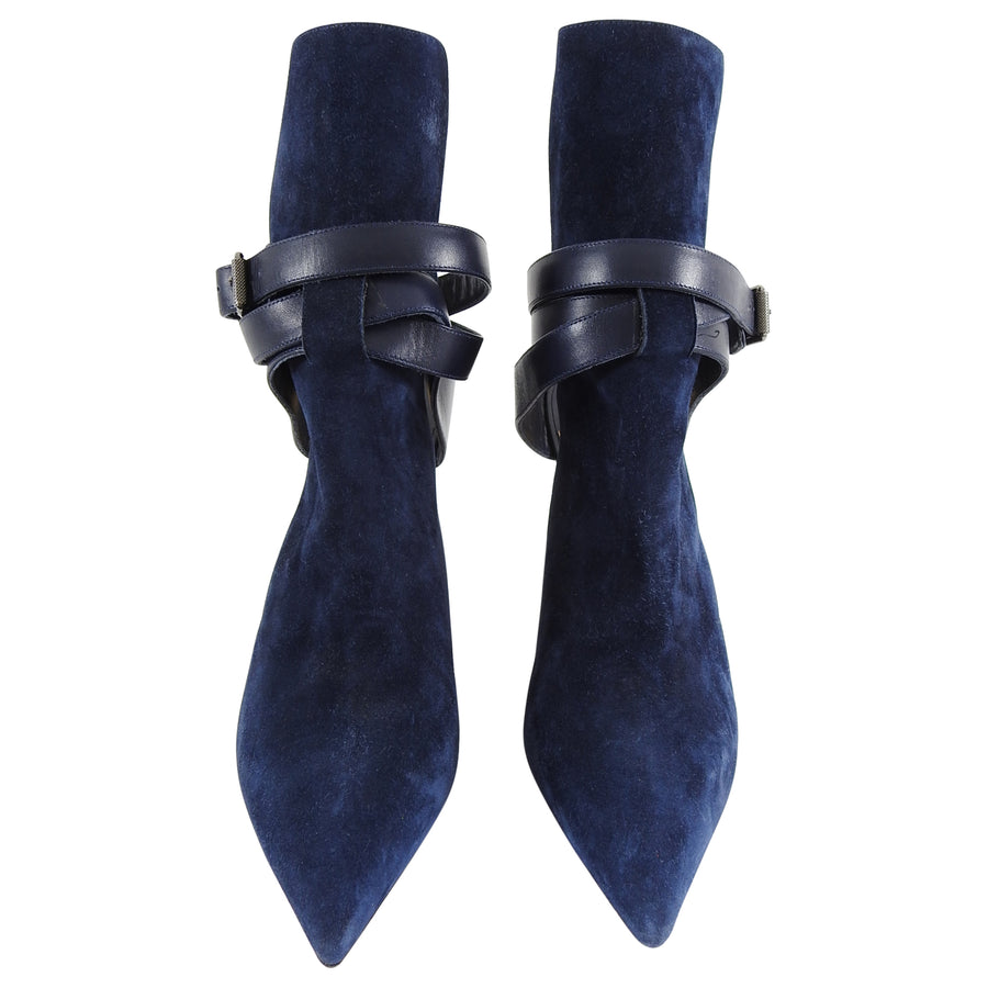 Christian Louboutin Pointipik 100 Navy Suede Ankle Wrap Mule Boots - 40