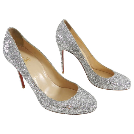 Christian Louboutin Silver Sparkle Glitter Fifille 110 Pumps Heels - 40.5
