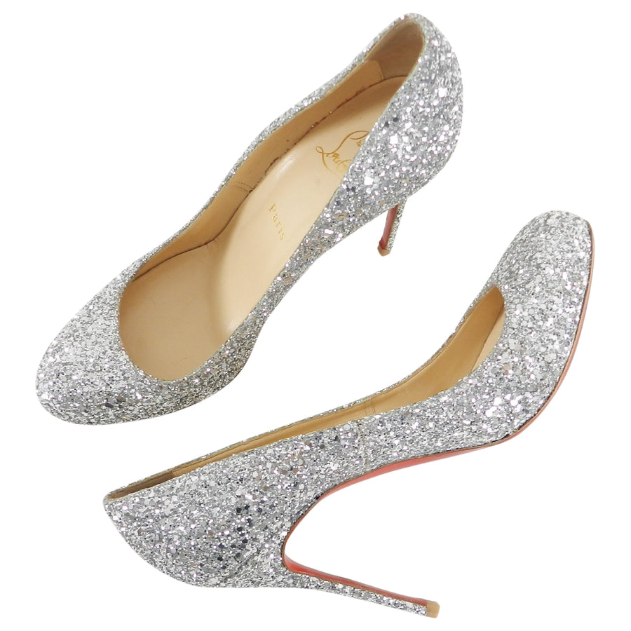 pretty nice f2962 60872 Christian Louboutin Silver Sparkle Glitter Fifille 110 Pumps Heels - 40.5