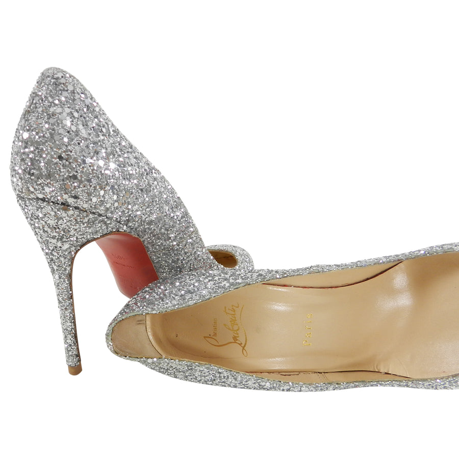 pretty nice ddaee e4058 Christian Louboutin Silver Sparkle Glitter Fifille 110 Pumps Heels - 40.5