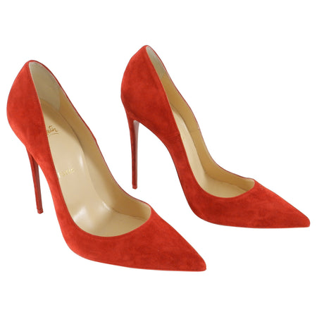 Christian Louboutin Red Flamenco Suede So Kate 120 Pumps / Heels - 40