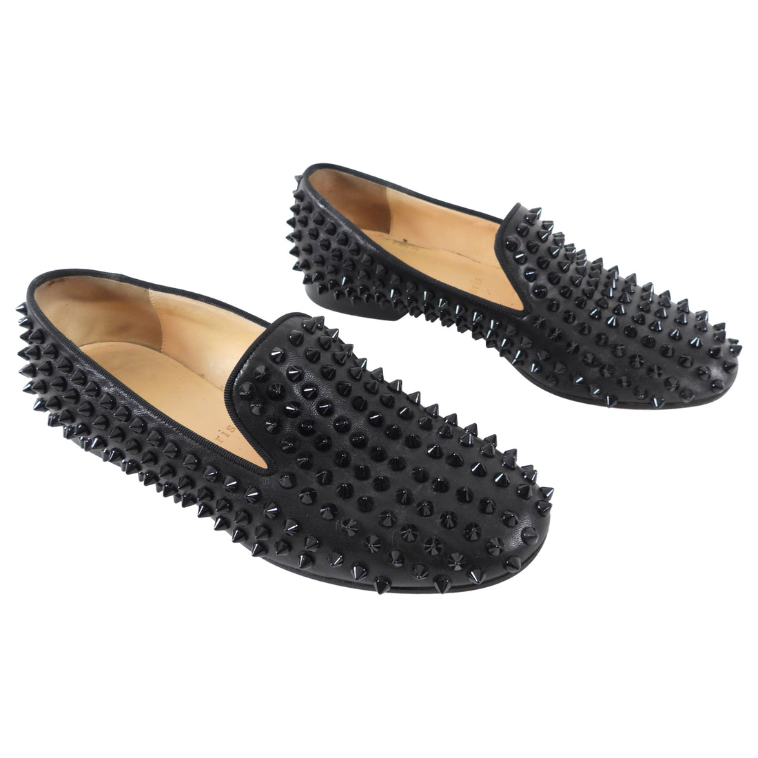Christian Louboutin Black Stud Flat Rolling Loafer - 36.5
