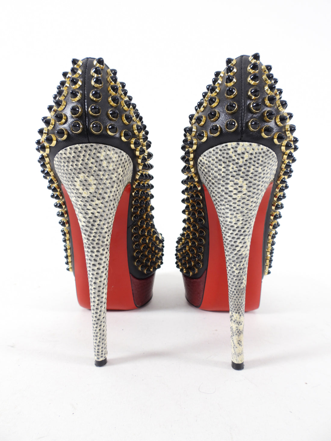 Christian Louboutin Gold Stud Tricolor Lady Peep Pumps - 36.5 / USA 6