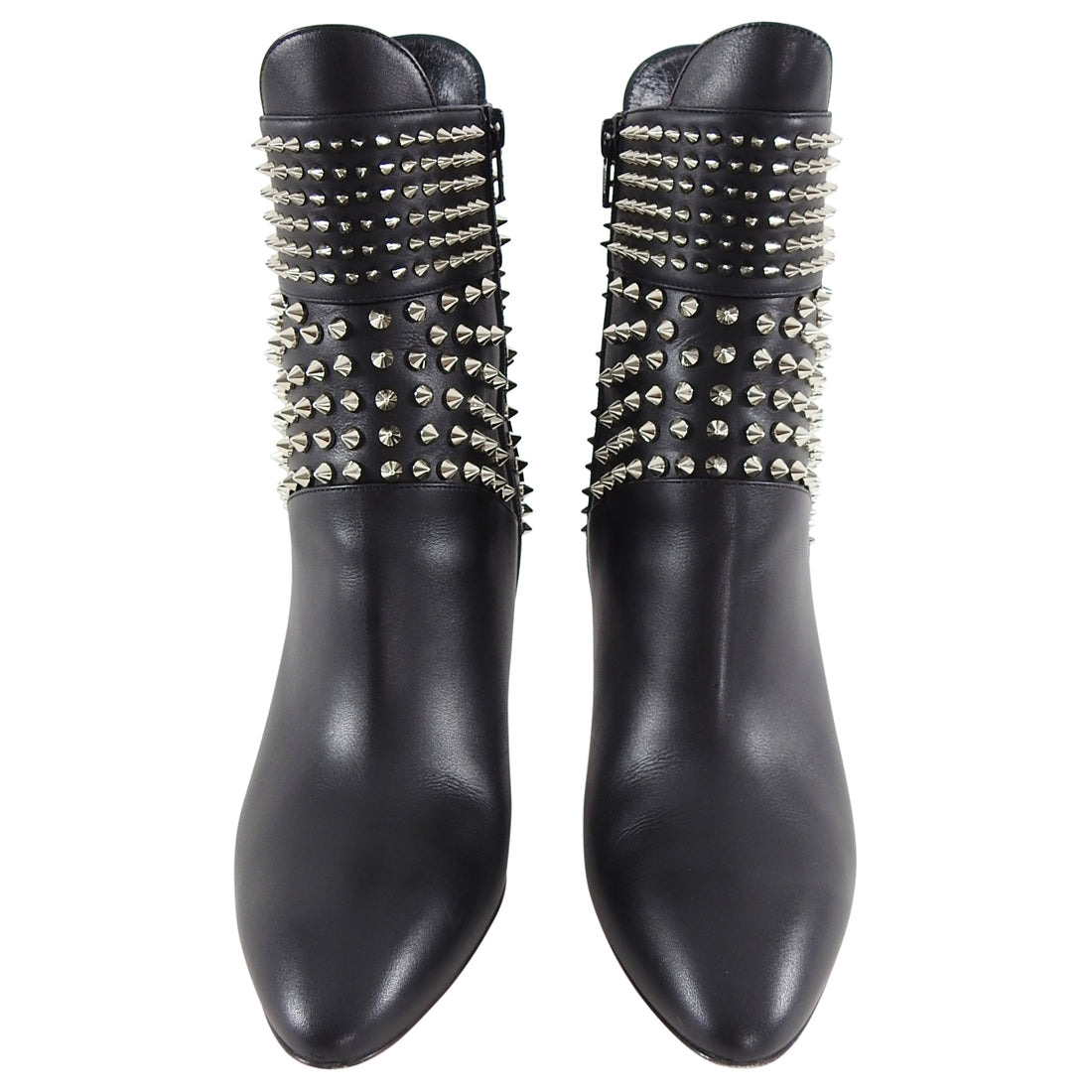 Louboutin Hongo Stud Black Leather Ankle Boots - 40