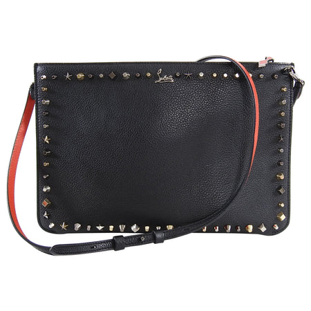 Christian louboutin Black 2 in 1 Studded Clutch Shoulder Bag