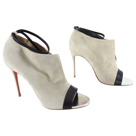 Christian Louboutin Suede Shootie with Ankle Strap and Silver Instep - 40