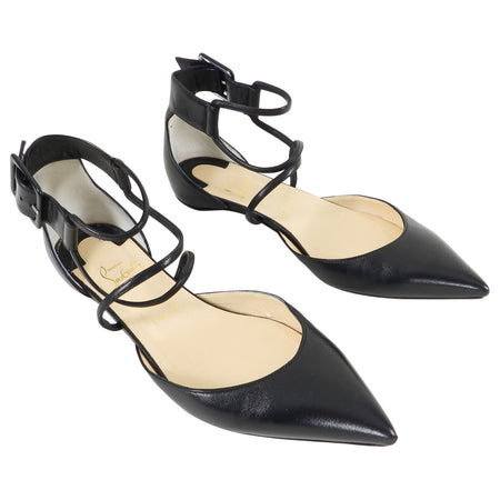 Christian Louboutin Black Leather Suzanna Flat Shoes - 40