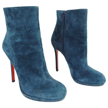 Christian Louboutin Teal Blue Suede High Heel Ankle Boots - 40 / 9.5