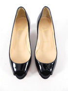 Christian Louboutin Black Patent You You 45 Peep Toe Heels - 35 / 34.5