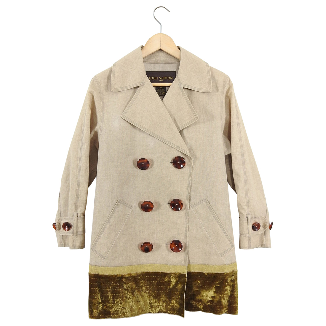 Louis Vuitton Coated Linen Trench Coat with Velvet Monogram Trim - FR38 / 6