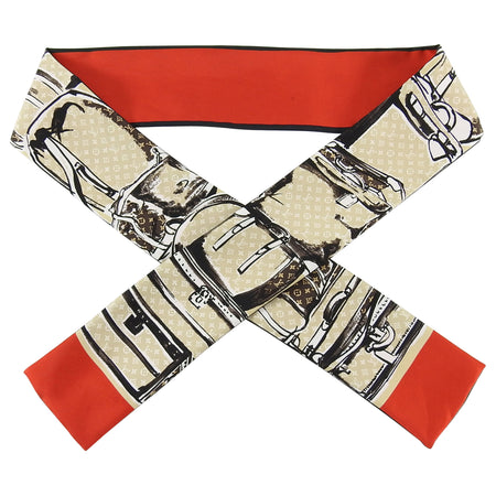 Louis Vuitton Red and Beige Monogram Trunks Silk Bandeau Scarf