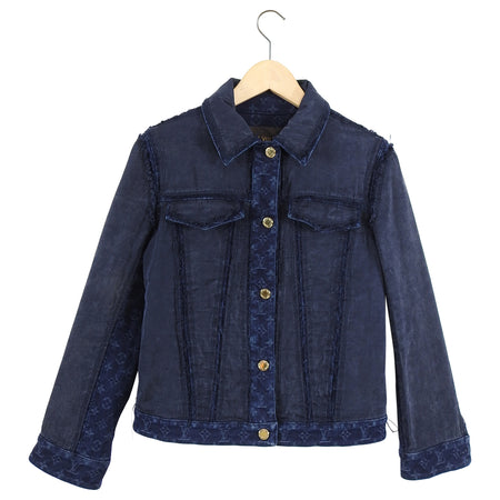 Louis Vuitton Monogram Blue Denim and Silk Jean Jacket - 38 / 6