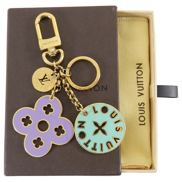Louis Vuitton Gold and Enamel Logo Keychain