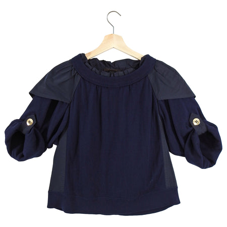 Louis Vuitton Navy Knit and Nylon Ruffle Top - FR38 / 6