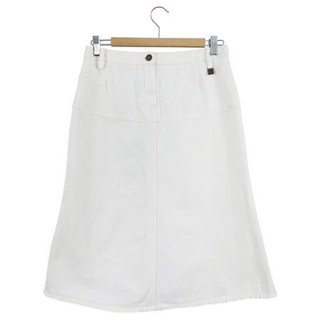 Louis Vuitton White Denim A-Line Skirt with Back Flounce - FR38 / USA 6