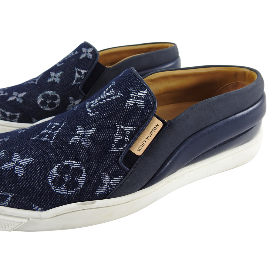 Louis Vuitton Denim Monogram Slip on Sneakers - 6