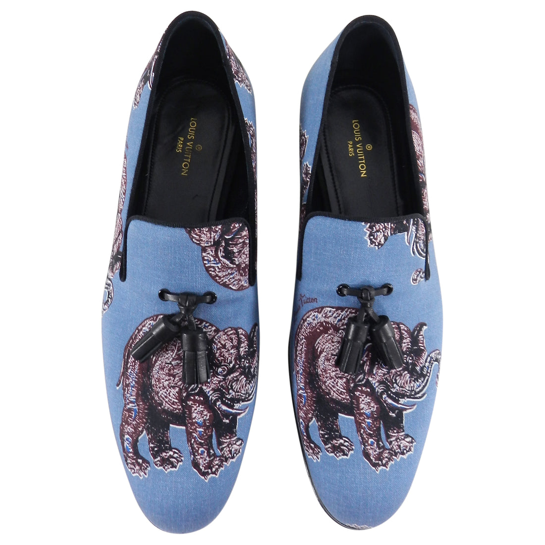 Louis Vuitton x Chapman Brothers Blue Elephant Auteuil Slipper Loafers - 10