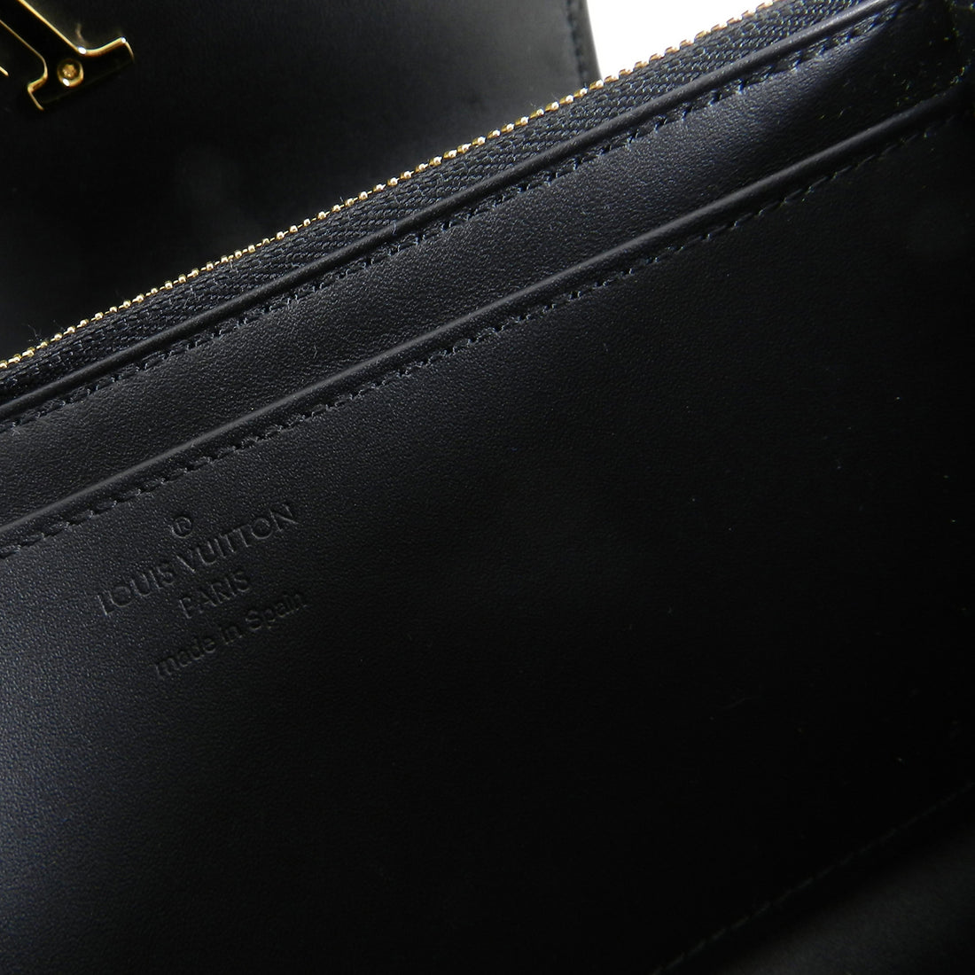 Louis Vuitton Black Vernis Louise Wallet with Gold-Tone LV Logo