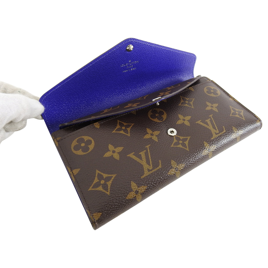 Louis Vuitton Mary Lou Epi Blue and Monogram Trifold Wallet