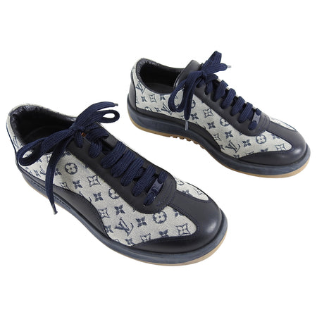 Louis Vuitton Mini Lin Navy Monogram Runners Sneakers - 36.5