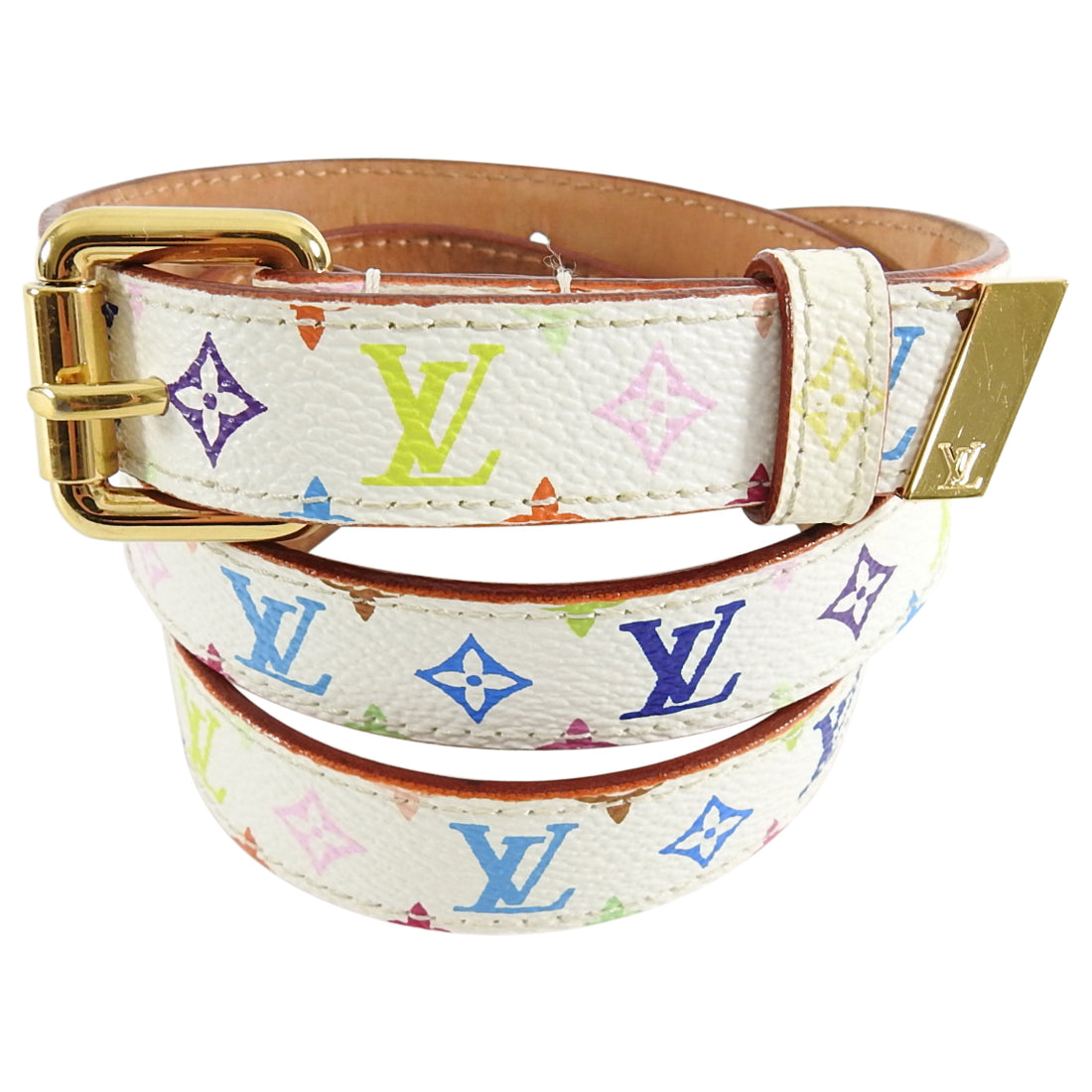 Louis Vuitton White Multicolore 20mm Monogram Belt - 80