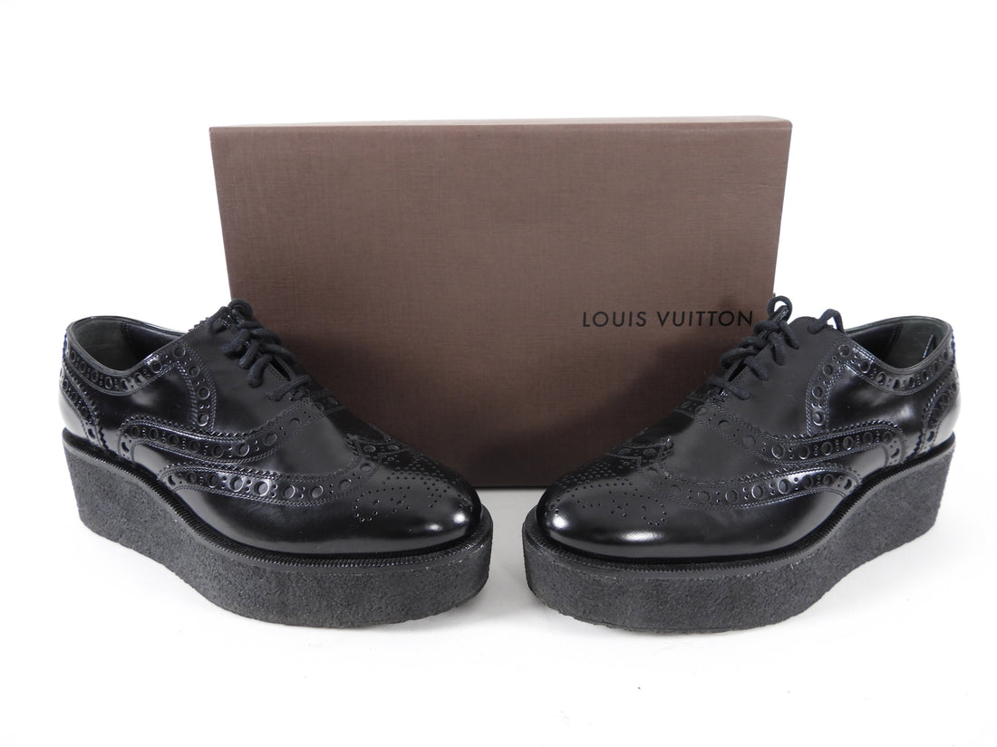 "Louis Vuitton Black Oxford Platform Shoes.  Black smooth leather oxfords with lace up design and rubber 2"" platform sole.  Marked size 36 but runs large and fits like a USA 6.5.  Excellent pre-owned condition (worn once and cleaned).  Includes box."